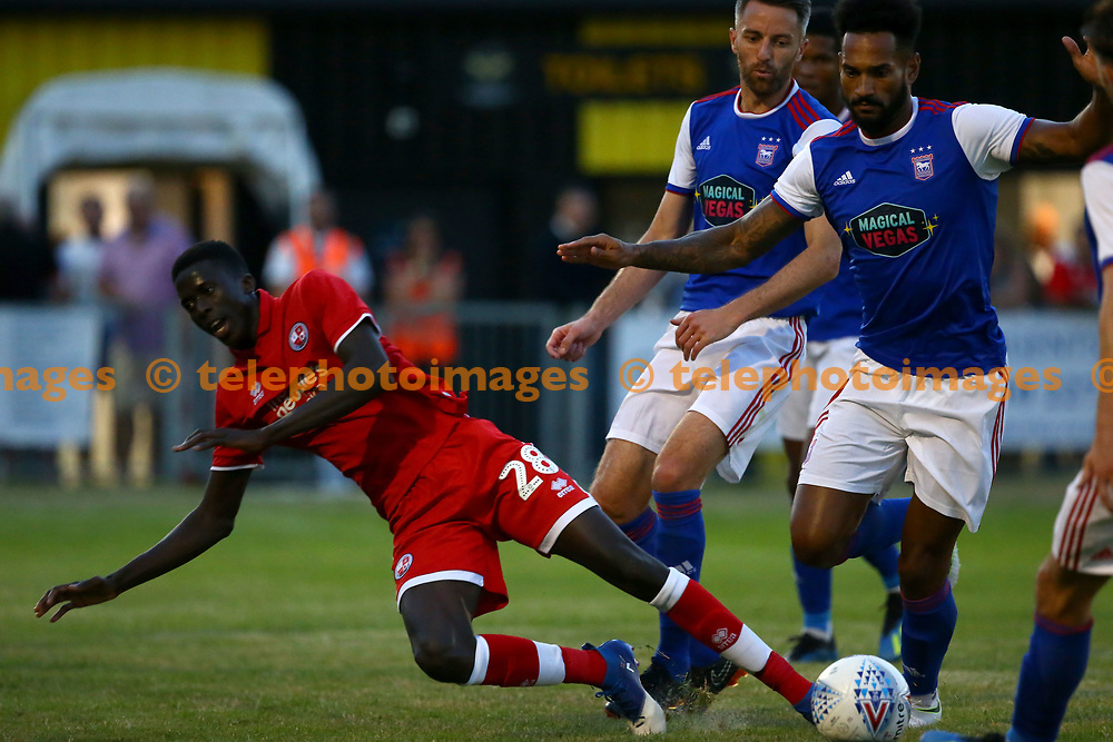 Crawley's Panutche Camara during the pre season friendly between Crawley Town and Ipswich Town at East Court, East Grinstead, UK. 17 July 2018.