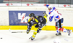 19.08.2012, Messestadion, Dornbirn, AUT, Eishockey Testspiel, Dornbirner Eishockey Club vs EV Ravensburg Towerstars, im Bild John Hecimovic, (Dornbirner Eishockey Club, #09) und Rader Krestan, (EV Ravensburg Towerstars #91)// during a international Icehockey Friendly Match between Dornbirner Icehockey club and EV Ravensburg Towerstars at the Exhibition Stadium, Dornbirn, Austria on 2012/08/19, EXPA Pictures © 2012, PhotoCredit: EXPA/ Peter Rinderer