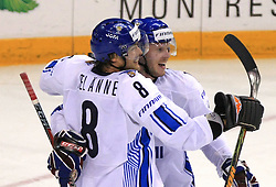 Teemu Selanne (8) and Saku Koivu of Finland celebrate a 3rd goal at ice-hockey match Finland vs USA at Qualifying round Group F of IIHF WC 2008 in Halifax, on May 11, 2008 in Metro Center, Halifax, Nova Scotia, Canada. (Photo by Vid Ponikvar / Sportal Images)