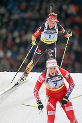 27.12.2014, Veltins Arena, Gelsenkirchen, GER, IBU Weltcup Biathlon, Team Challenge 2014, im Bild Laura Dahlmeier (Team Deutschland), davor Fanny Welle-Strand Horm (Team Norwegen) // during the IBU Biathlon World Team Challenge at the Veltins Arena in Gelsenkirchen, Germany on 2014/12/27. EXPA Pictures &copy; 2014, PhotoCredit: EXPA/ Eibner-Pressefoto/ Kohring<br /> <br /> *****ATTENTION - OUT of GER*****