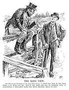 "The Long View. John Bull (to the President of the Irish Free State). ""I don't say this is the best fence I've ever sat on; but, if you hope one day to dispense with it altogether, I shouldn't raise too much trouble about it now."""