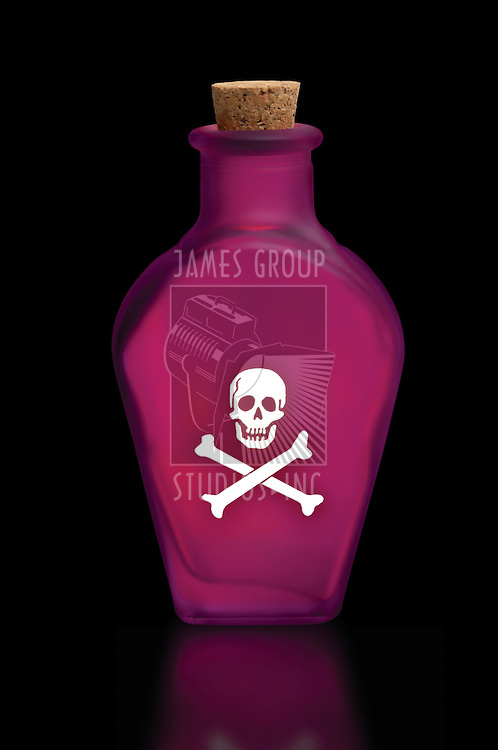 Bottle of poison with skull and crossbones on the front