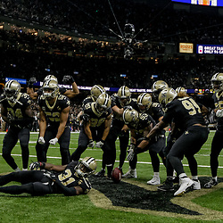 Nov 22, 2018; New Orleans, LA, USA; The New Orleans Saints defense celebrates after a turnover by the Atlanta Falcons during the second half at the Mercedes-Benz Superdome. Mandatory Credit: Derick E. Hingle-USA TODAY Sports