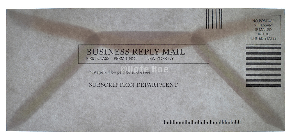subscription no postage needed reply business envelope