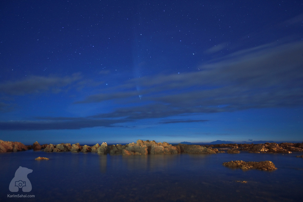 Comet McNaught appears in the sky above Houghton Bay, Wellington, New Zealand, on January 27, 2007. The remarkably bright comet remained visible worldwide for two weeks and was at its brightest in the Southern Hemisphere.