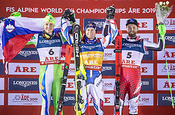 11.02.2019, Aare, SWE, FIS Weltmeisterschaften Ski Alpin, alpine Kombination, Herren, Siegerpräsentation, im Bild v.l. Silbermedaillengewinner Stefan Hadalin (SLO), Alexis Pinturault (FRA, Weltmeister und Goldmedaillengewinner), Bronzemedaillengewinner Marco Schwarz (AUT) // f.l. Silver medalist Stefan Hadalin of Slovenia World champion and gold medalist Alexis Pinturault of France Bronze medalist Marco Schwarz of Austria during the winner presentation of the men's alpine combination for the FIS Ski World Championships 2019. Aare, Sweden on 2019/02/11. EXPA Pictures © 2019, PhotoCredit: EXPA/ Johann Groder
