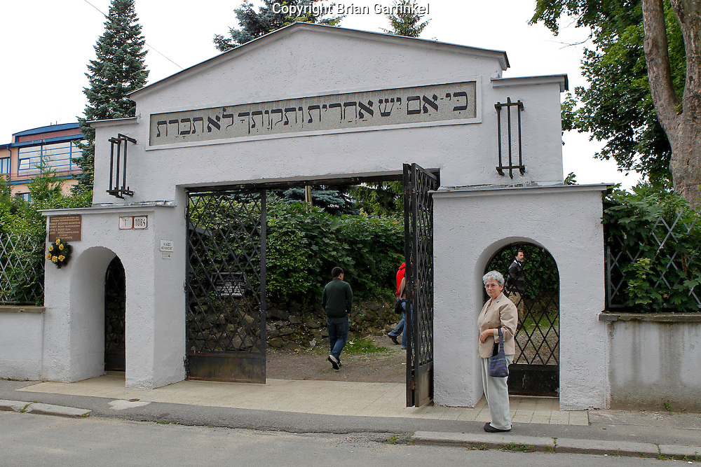 Mom in front of the Jewish cemetery in Zilina, Slovakia on Sunday July 3rd 2011. (Photo by Brian Garfinkel)
