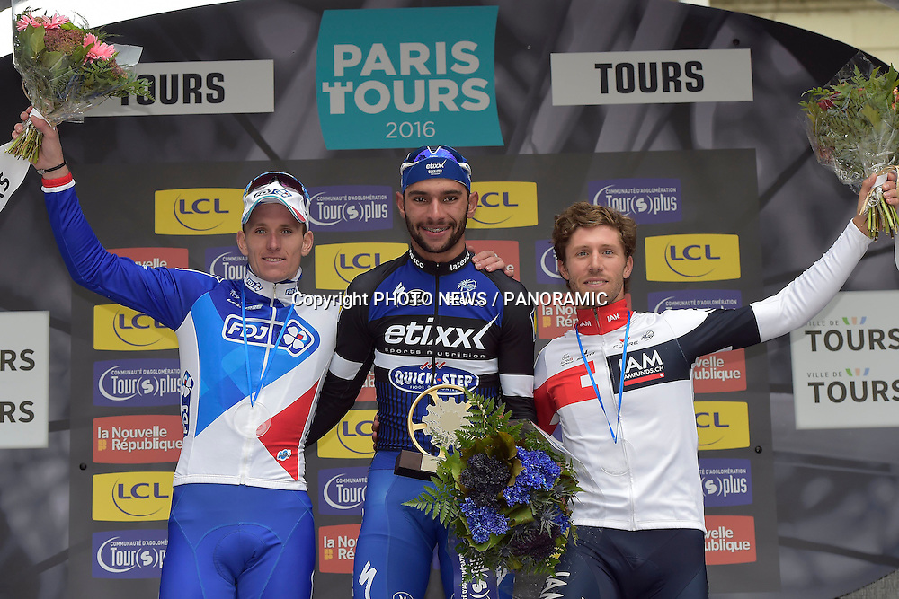 TOURS, FRANCE - OCTOBER 9 : winner GAVIRIA RENDON Fernando (COL) Rider of ETIXX - QUICK STEP, second DEMARE Arnaud (FRA) Rider of FDJ and third VANGENECHTEN Jonas (BEL) Rider of IAM CYCLING pictured during the podium ceremony of the 110th edition of the Paris-Tours cycling race with start in Dreux and finish in Tours on October 09, 2016 in Tours, France, 9/10/2016