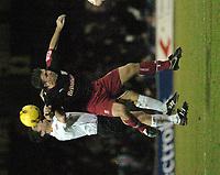 Photo: Ian Hebden.<br />Luton Town v Stoke City. Coca Cola Championship.<br />17/12/2005.<br />Luton's Steve Robinson (L) and Stoke's Dave Brammer contest a header.