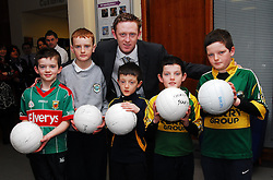 Four time All-Ireland Senior medal winner Colm 'The Gooch' Cooper and AIB's Youth Ambassador was visiting Mayo on friday last Pictured with the Kerry supreme were Eanna Geraghty, Jack Carney, Rossa, Declan and Liam Horgan.Pic Conor McKeown