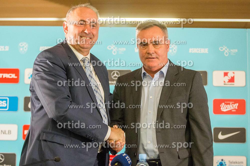 Tomaz Kavcic and Radenko Mijatovic during Press conference of Football Association of Slovenia, on December 4, 2017 in National Football Centre, Brdo pri Kranju, Slovenia. Photo by Ziga Zupan / Sportida