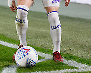 Leeds United socks with the clubs name on them, during the EFL Sky Bet Championship match between Hull City and Leeds United at the KCOM Stadium, Kingston upon Hull, England on 2 October 2018.
