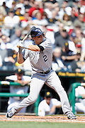PITTSBURGH, PA - APRIL 7: Troy Tulowitzki #2 of the Colorado Rockies bats against the Pittsburgh Pirates at PNC Park on April 7, 2011 in Pittsburgh, Pennsylvania. The Rockies won 7-1. (Photo by Joe Robbins) *** Local Caption *** Troy Tulowitzki