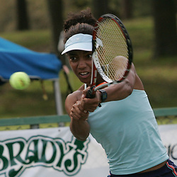 Raquel Kops-Jones returns a shot during the finals of doubles competition at the AT&T$25,000 Challenger USTA Pro Women's Tennis Circuit Tournament played on March 30, 2008 at Oak Knoll Country Club in Hammond, LA. Raquel Kops-Jones and Abigail Spears defeated sisters Chelsey Gullickson and Carly Gullickson in two sets 7-5, 6-4 to when the doubles title at the AT&T 25K Challenger.