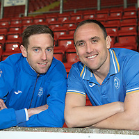 St Johnstone's Steven MacLean and Lee Croft who have both signed new deals that will keep them at McDiarmid Park next season....07.05.14<br /> Picture by Graeme Hart.<br /> Copyright Perthshire Picture Agency<br /> Tel: 01738 623350  Mobile: 07990 594431