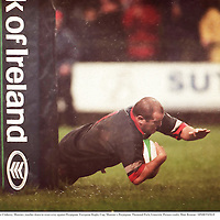 31 October 1998; Peter Clohessy, Munster, touches down to score a try against Perpignan. European Rugby Cup, Munster v Perpignan, Thomond Park, Limerick. Picture credit; Matt Browne / SPORTSFILE