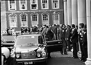 EEC Leaders Meet At Dublin Castle.   (N4)..1979..29.11.1979..11.29.1979..29th November 1979..At Dublin Castle the leaders of the countries within the EEC held a summit conference to discuss issues which would affect the EEC over the forthcoming years..Image of the Italian Premier,F M Cossiga,arriving to take part in the EEC summit at Dublin Castle.