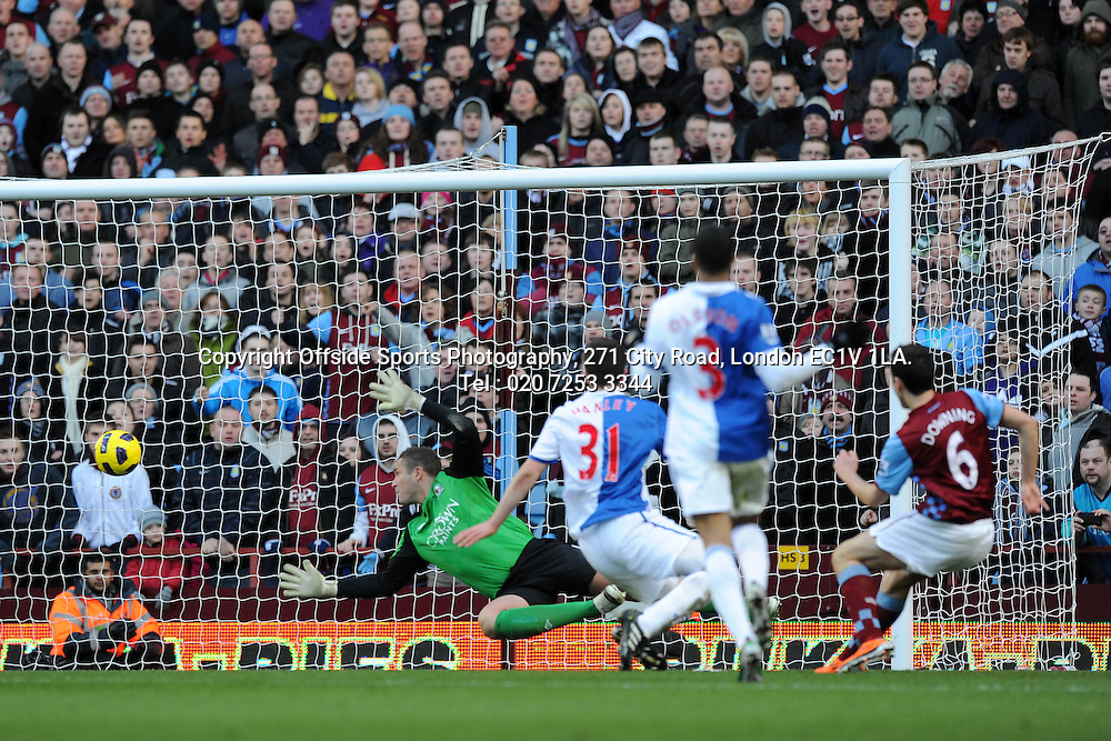 26/02/2011. Premier League football. Aston Villa v Blackburn Rovers.<br /> <br /> Stewart Downing scores the third goal for Aston Villa<br /> <br /> Photo: Ben Angel / Offside