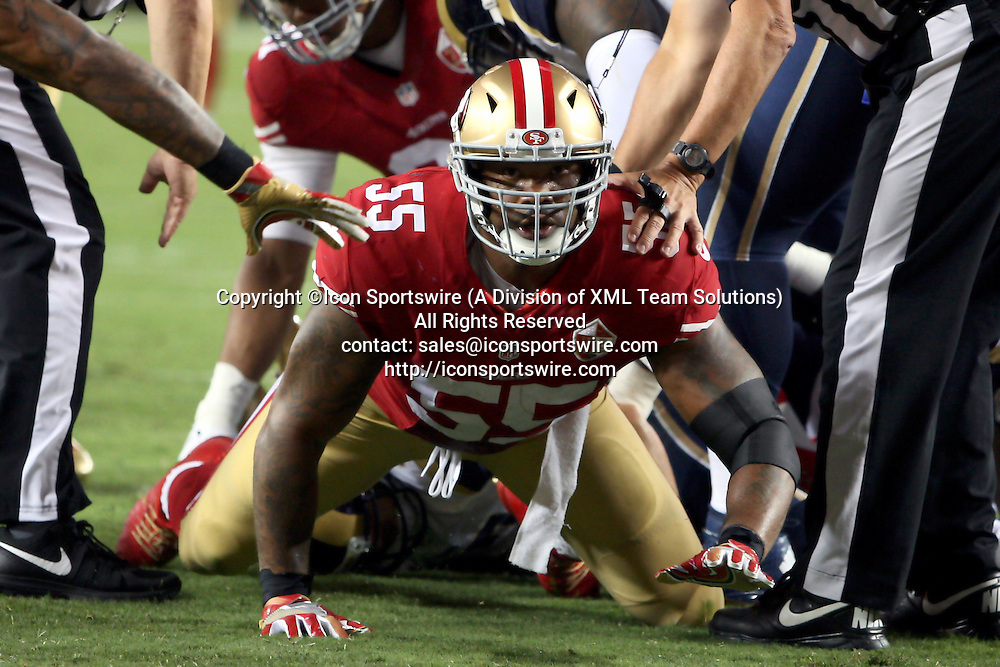 September 12 2016: Linebacker Ahmad Brooks of the San Francisco 49ers after getting a sack of Rams quarterback Case Keenum during a 28-0 victory over the Los Angeles Rams at Levi's Stadium in Santa Clara, CA (Photo by Rob Holt/Icon Sportswire)