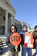 """We the People Save our Waters Coalition"" holds rally to stop the long-term lease of our Sewage Treatment Plants. At Nassau County Legislative Building, Mineola, New York, USA, on February 27, 2012."