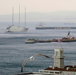 "© Licensed to London News Pictures. 21/02/2017. Gibraltar, Spain.. A €400 million Super Yacht belonging to Russian billionaire industrialist Andrey Melnichenko, known as yacht ""A"" which has been impounded by the Gibraltar Port Authority, following a breach of contract on payment. Photo credit: Donovan Torres/LNP"