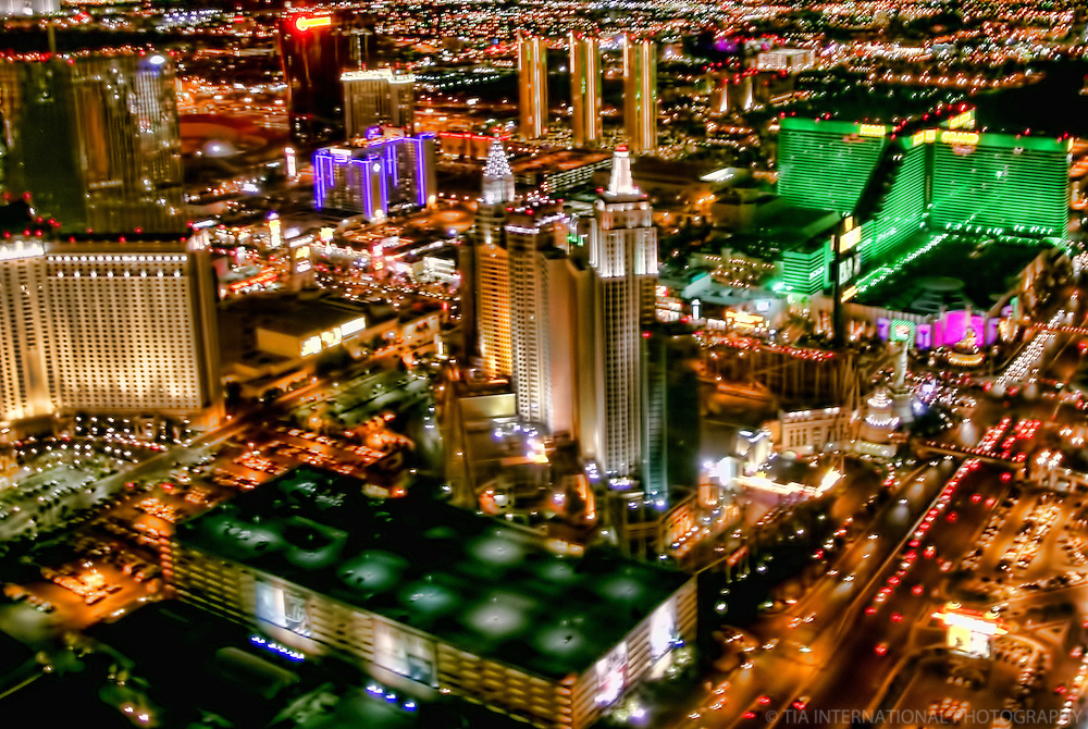 Night Aerial View, Las Vegas Strip featuring New York, New York & MGM Grand Hotels