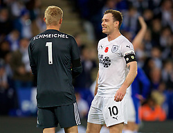 LEICESTER, ENGLAND - Saturday, November 10, 2018: Leicester City's goalkeeper Kasper Schmeichel and Burnley's Ashley Barnes after the FA Premier League match between Leicester City FC and Burnley FC at the King Power Stadium. (Pic by David Rawcliffe/Propaganda)