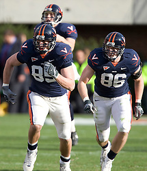 Virginia tight end John M. Phillips (85) and tight end Tom Santi (86) on special teams...The #8 ranked Virginia Tech Hokies defeated the #16 ranked Virginia Cavaliers 33-21 at Scott Stadium in Charlottesville, VA on November 24, 2007.