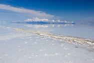 The Altiplano sky is reflected in the flooded Salar de Uyuni in the department of Potosi, Bolivia