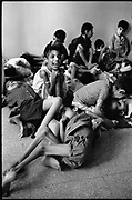 Beirut, Lebanon June 14th 1982. Sabra palestinian refugees camp. Sabra psychiatric hospital . Mentally sick children awaiting evacuation in the entrance of the hospital. ©Herve Merliac