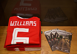 DUBLIN, IRELAND - Tuesday, October 16, 2018: The shirt of Wales' captain Ashley Williams laid out in the dressing room before the UEFA Nations League Group Stage League B Group 4 match between Republic of Ireland and Wales at the Aviva Stadium. (Pic by David Rawcliffe/Propaganda)