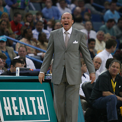 15 April 2008:  Los Angeles Clippers head coach Mike Dunleavy yells from the bench in the second quarter of the Hornets 114-92 win over the Clippers at the New Orleans Arena in New Orleans, Louisiana.