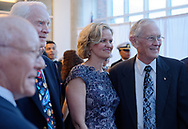 Garden City, New York, U.S. June 6, 2019. L-R, GERRY GRIFFIN, Apollo Flight Director; Apollo 9 astronaut RUSTY SCHWEICKART; Nassau County Executive LAURA CURRAN; and Apollo 16 astronaut CHARLIE DUKE pose for photo at Cradle of Aviation Museum during Apollo at 50 Anniversary Dinner, an Apollo astronaut tribute celebrating the Apollo 11 mission Moon landing.