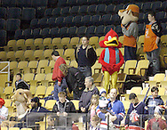 Mascots find a seat before the Dayton Gems take on the Flint Generals at Hara Arena, Sunday, November 22, 2009. During intermission, the mascots will be playing dodgeball.