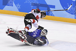 February 22, 2018 - Pyeongchang, South Korea - MELODIE DAOUST of Canada collides with US goalie MADDIE ROONEY after scoring on an Overtime penalty shootout during the Women's Gold Medal Ice Hockey game Thursday, February 22, 2018 at Gangneung Hockey Centre at the Pyeongchang Winter Olympic Games. USA took the gold. Photo by Mark Reis, ZUMA Press/The Gazette (Credit Image: © Mark Reis via ZUMA Wire)