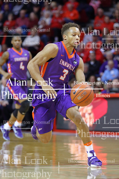 29 December 2016:  Jaylon Brown during an NCAA  MVC (Missouri Valley conference) mens basketball game between the Evansville Purple Aces the Illinois State Redbirds in  Redbird Arena, Normal IL