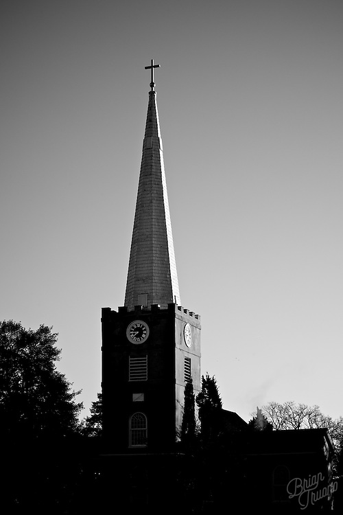 The spire of Immanuel Episcopal Church on the Green in Old New Castle, DE