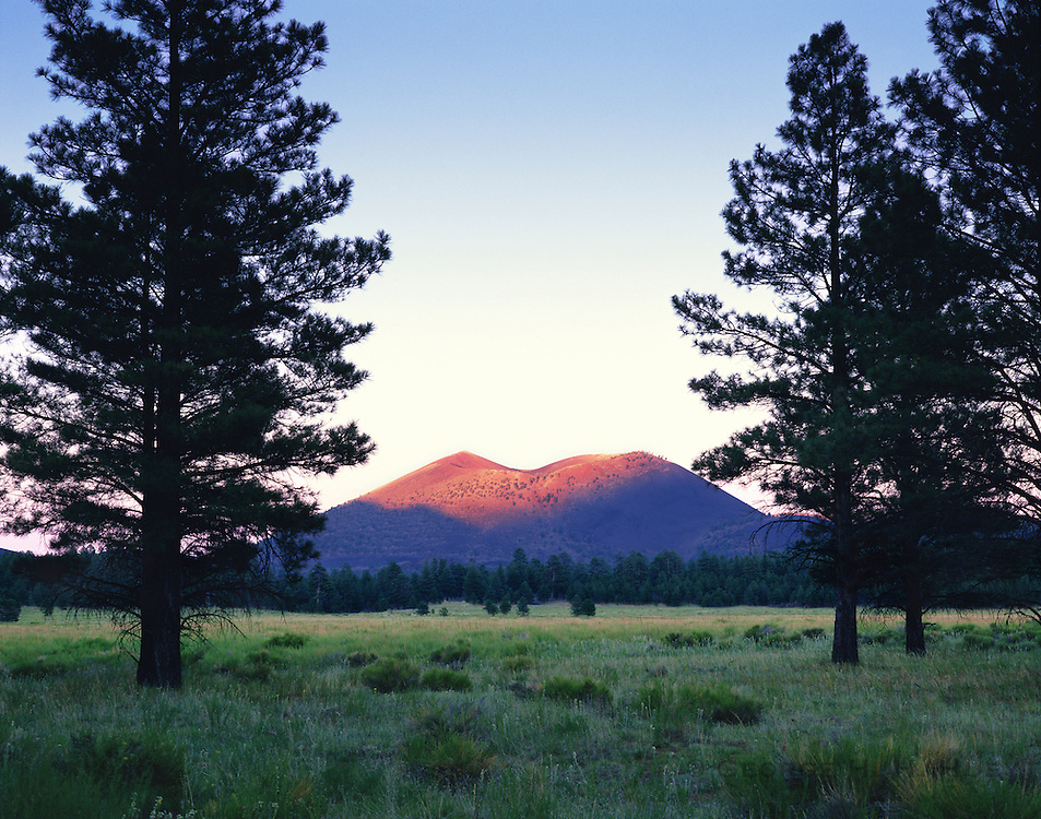 0116-1003LVT ~ Copyright: George H. H. Huey ~ Sunset Crater at sunset with ponderosa pines [Pinus ponderosa], from Bonito Park. Erupted A.D. 1064-1065. Sunset Crater National Monument, Arizona.