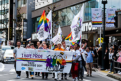 April 28, 2019 - Tokyo, Japan - Participants take part in the Tokyo Rainbow Pride Parade in Shibuya District, Tokyo. An estimated 10,000 people participated in the Tokyo Rainbow Pride parade and marched through the streets of Shibuya to spread awareness on a society free of prejudice and discrimination. (Credit Image: © Keith Tsuji/ZUMA Wire)