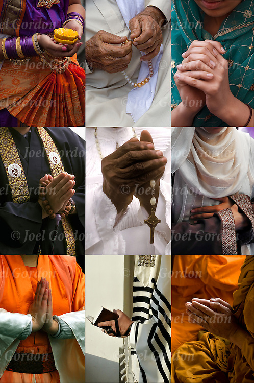 nine images of people praying from different world religions: Buddhism, Christianity, Hinduism, Islam, Judaism, and Sikhism.<br />