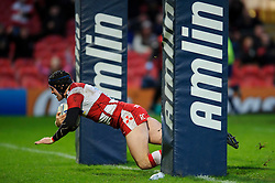 Gloucester Full Back (#15) Rob Cook scores a try early during the second half of the match - Photo mandatory by-line: Rogan Thomson/JMP - Tel: Mobile: 07966 386802 15/12/2012 - SPORT - RUGBY - Kingsholm Stadium - Gloucester. Gloucester Rugby v London Irish - Amlin Challenge Cup Round 4.