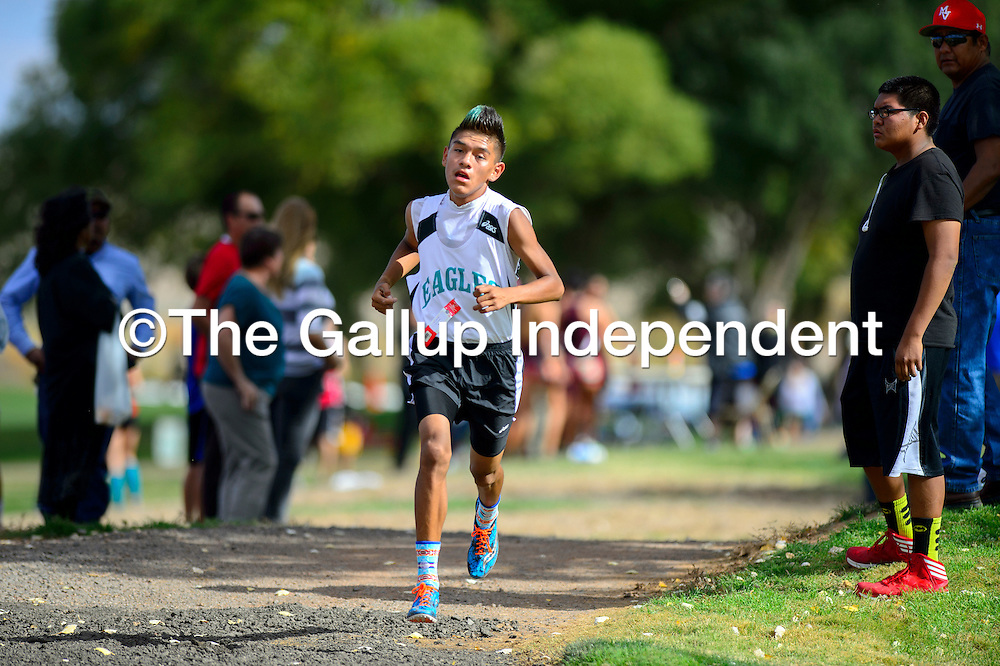 103114  Adron Gardner/Independent<br /> <br /> Pinon Eagle Adriano Joe leads in the Arizona sectional cross country tournament in Holbrook Friday.