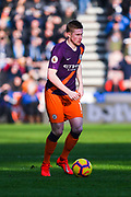 Kevin De Bruyne of Manchester City (17) in action during the Premier League match between Huddersfield Town and Manchester City at the John Smiths Stadium, Huddersfield, England on 20 January 2019.