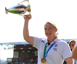 Women from the England world cup wining team parade the world cup - Photo mandatory by-line: Joe Meredith/JMP - Mobile: 07966 386802 - 7/09/14 - SPORT - RUGBY - Bristol - Ashton Gate - Bristol Rugby v Worcester Warriors - The Rugby Championship