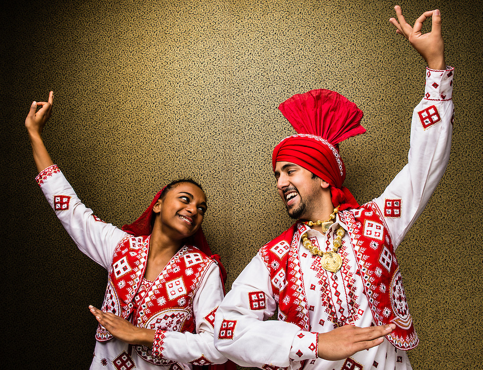 03/08/2013 - Medford/Somerville, Mass. - Geetha Mahendran, A16, and Adi Kulkarni, M14, of the Tufts Bhangra dance troupe, pose for a portrait on Friday, March 8, 2013.  (Alonso Nichols/Tufts University)