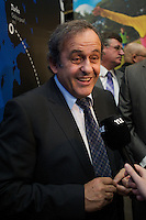 Michel Platini attend at opening of Turku-European Capital of Culture 2011. after his speech he answered to questions by journalist and audience. January 14th, 2011, Turku, Finland.