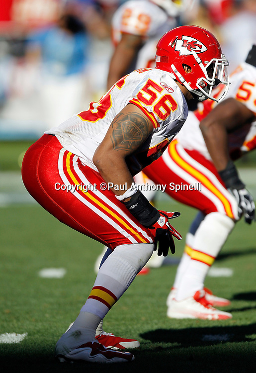 Kansas City Chiefs linebacker Derrick Johnson (56) gets set for the snap during the NFL week 14 football game against the San Diego Chargers on Sunday, December 12, 2010 in San Diego, California. The Chargers won the game 31-0. (©Paul Anthony Spinelli)