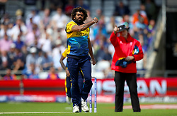 Sri Lanka's Lasith Malinga celebrates taking the wicket of England's Jonny Bairstow during the ICC Cricket World Cup group stage match at Headingley, Leeds.