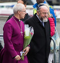 City Hall, London, June 5th 2017.  Archbishop Of Canterbury Justin Welby and Chief Rabbi Ephraim Mervis arrive with flowers at a vigil held in remembrance of those killed during the June 3rd terror attack at London Bridge and Borough Market.