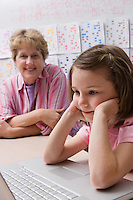 Teacher Watching Schoolgirl Use Laptop